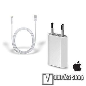 APPLE hálózati töltő USB aljzattal - 5V / 1A, 5W, Apple Lightning adatátvitel és töltő kábellel - FEHÉR - MD813ZM/A + MD818ZM/A - GYÁRI - Csomagolás nélküli kép