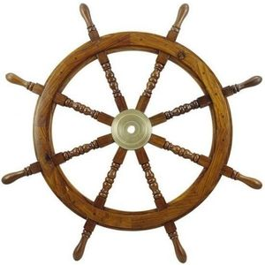 Sea-club Steering Wheel wood with brass center - o 90cm kép