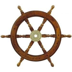 Sea-club Steering Wheel wood with brass Center - o 60cm kép
