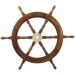 Sea-club Steering Wheel wood with brass Center - o 75cm kép