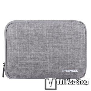 """HAWEEL Tablet / Laptop UNIVERZÁLIS tok / táska - SZÜRKE - Szövet, bársony belső, 2 különálló zsebbel, ütődésálló, vízálló - ERŐS VÉDELEM! - 11""""-os készülékekig használható, 300 x 205 x 20mm kép"""