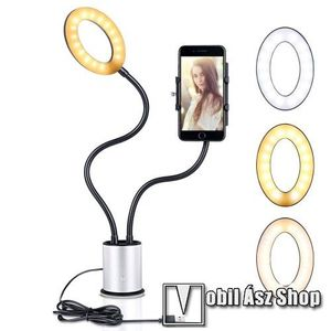 UNIVERZÁLIS asztali telefon tartó állvány - tapadókorongos, LED körfény, állítható színhőmérséklet, 360°-ban forgatható - 55-85 mm-ig nyíló bölcsővel, 44cm magas bölcső, 59cm magas LED fény - FEKETE / EZÜST kép