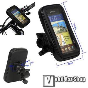 """UNIVERZÁLIS biciklis/kerékpáros tartó konzol mobiltelefon készülékekhez - 6, 7""""-os méretig / 160 x 82 x 20 mm-es bölcső, cseppálló védő tokos kialakítás - FEKETE kép"""