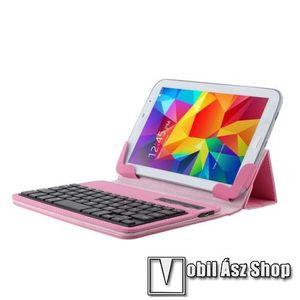 """UNIVERZÁLIS tablet PC flip / mappa bőrtok - 7""""-os készülékekhez, bluetooth billentyűzet, ANGOL KIOSZTÁS! - RÓZSASZÍN kép"""