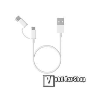 Xiaomi Micro USB 2.0 adatátvieli kábel / töltő kábel - Type-C átalakítóval - 1m, 2.4A - FEHÉR - GYÁRI kép