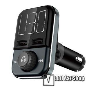 BLUETOOTH kihangosító szett - V4.2+EDR, szivartöltőbe tehető, FM transmitterrel csatlakozik autórádióra, beépített mikrofon, LED kijelző, EXTRA USB töltő aljzatok, 5V/3.4A (max) - FEKETE kép