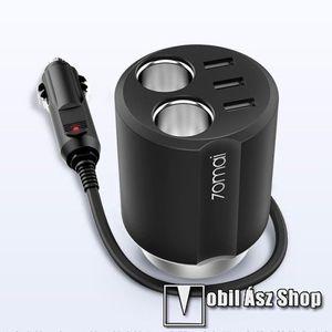 XIAOMI 70MAI Midrive szivargyújtó töltő / autós töltő elosztó - pohártartóba helyezhető, 3 USB port 5V/2.4A, 2 extra szivargyújtó aljzat, 84 x 84 x 97.5mm - FEKETE - CC03 - GYÁRI kép