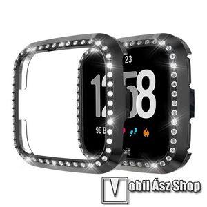 Okosóra műanyag védő tok / keret - FEKETE - Strassz köves minta - Fitbit Versa / Fitbit Versa Lite kép