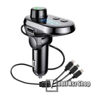 BLUETOOTH kihangosító szett - V5.0, szivartöltőbe tehető, DSP zajszűrő, FM transmitterrel csatlakozik autórádióra, beépített mikrofon, LED kijelző, kártyaolvasó (SD/TF), 3.1A beépített töltőkábel (Type-C, Lightning, microUSB) - FEKETE kép