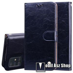 Notesz tok / flip tok - FEKETE - asztali tartó funkciós, oldalra nyíló, rejtett mágneses záródás, bankkártyatartó zseb, szilikon belső - SAMSUNG SM-A715F Galaxy A71 kép