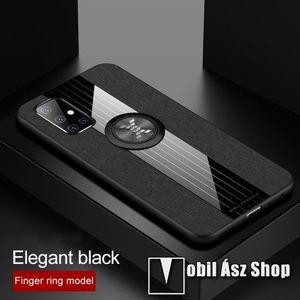 OTT! Jeans Cloth műanyag védő tok / hátlap - FEKETE - szilikon betétes, szövettel bevont, kitámasztható, fém ujjgyűrűvel, tapadófelület mágneses autós tartóhoz - ERŐS VÉDELEM! - SAMSUNG Galaxy A51 (SM-A515F) kép