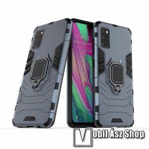 TRANSFORM PRO műanyag védő tok / hátlap - KÉK - szilikon betétes, kitámasztható, fém ujjgyűrűvel, tapadófelület mágneses autós tartóhoz - ERŐS VÉDELEM! - SAMSUNG Galaxy A41 (SM-A415F) kép