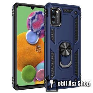 OTT! HYBRID ARMOR műanyag védő tok / hátlap - KÉK - szilikon betétes, kitámasztható, fém ujjgyűrűvel, tapadófelület mágneses autós tartóhoz - ERŐS VÉDELEM! - SAMSUNG Galaxy A41 (SM-A415F) kép