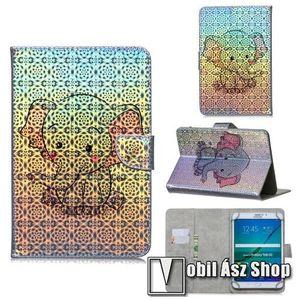"""UNIVERZÁLIS notesz / mappa tablet PC tok - ELEFÁNT MINTÁS - álló, bőr, mágneses, asztali tartó funkciós, bankkártyatartó zsebek, 10""""-os készülékekhez kép"""