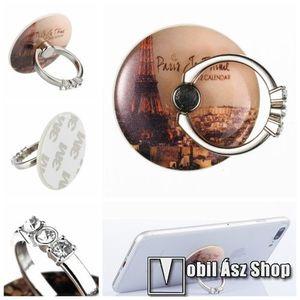 UNIVERZÁLIS fém ujjtámasz, gyűrű tartó - Biztos fogás készülékéhez, strasszkővel díszített - EIFFEL TORONY MINTÁS kép