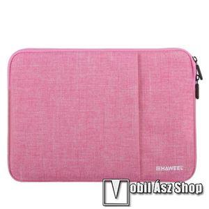 """HAWEEL Tablet / Laptop UNIVERZÁLIS tok / táska - RÓZSASZÍN - Szövet, bársony belső, 2 különálló zsebbel, ütődésálló, vízálló - ERŐS VÉDELEM! - 15""""-os készülékekig használható, külső méret: 370 x 265 x 20mmn belső méret: 360 x 255 x 20mm kép"""