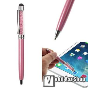 Érintőképernyő ceruza / golyós toll - strasszkővel díszített - RÓZSASZÍN kép