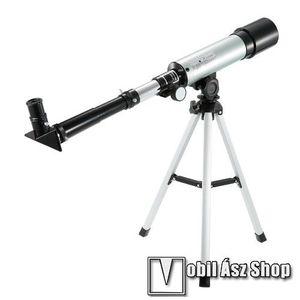 UNIVERZÁLIS kültéri teleszkóp - HD 90X optikai zoommal, 38cm magas tripod állvánnyal, több cserélhető lencse, maximális 150X zoom, fókusztávolság 300mm - FEKETE / EZÜST kép
