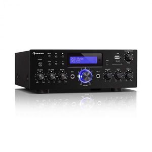 Auna AMP-5 BT, HiFi erősítő, 2 x 50 W RMS, BT, 2 x mikrofon, fekete kép