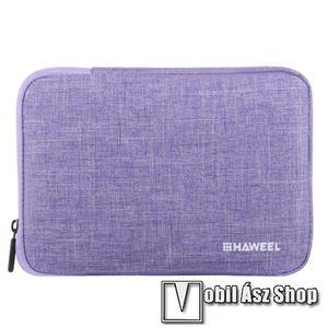 """HAWEEL Tablet / Laptop UNIVERZÁLIS tok / táska - LILA - Szövet, bársony belső, 2 különálló zsebbel, ütődésálló, vízálló - ERŐS VÉDELEM! - 9, 7""""-os készülékekig használható, 250 x 180 x 20 mm kép"""