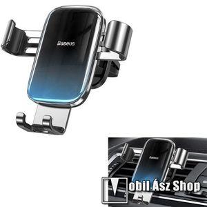 """BASEUS Glaze Gravity univerzális autós / gépkocsi tartó - FEKETE / KÉK - szellőzőrácsra rögzíthető, 4.7-6.5""""-os készülékekhez ajánlott - GYÁRI kép"""