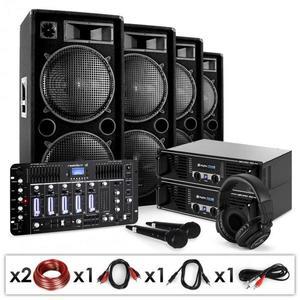 """Electronic-Star DJ PA szett """"Bass First Pro Bluetooth"""", 2 x erősítő, 4 x hangszóró, keverő, 4000 W kép"""