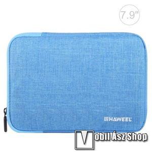 """HAWEEL Tablet / Laptop UNIVERZÁLIS tok / táska - KÉK - Szövet, bársony belső, 2 különálló zsebbel, ütődésálló, vízálló - ERŐS VÉDELEM! - 7, 9""""-os készülékekig használható, 210 x 145 x 20 mm kép"""