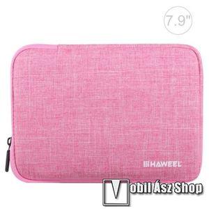"""HAWEEL Tablet / Laptop UNIVERZÁLIS tok / táska - RÓZSASZÍN - Szövet, bársony belső, 2 különálló zsebbel, ütődésálló, vízálló - ERŐS VÉDELEM! - 7, 9""""-os készülékekig használható, 210 x 145 x 20 mm kép"""