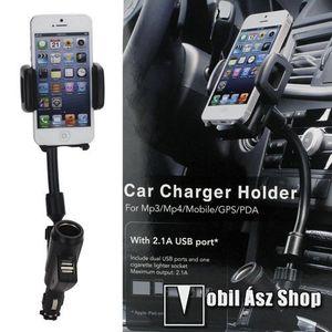 UNIVERZÁLIS gépkocsi / autós tartó - szivargyújtő töltő adapterbe helyezhető + szivargyújtó és 2db USB aljzattal (5V / 2100mAh), 35-80 mm-ig állítható bölcsővel kép