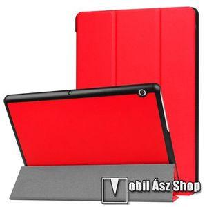 Notesz / mappa tok - PIROS - oldalra nyíló flip cover, TRIFOLD asztali tartó funkciós, mágneses záródás - HUAWEI MediaPad T3 10 kép