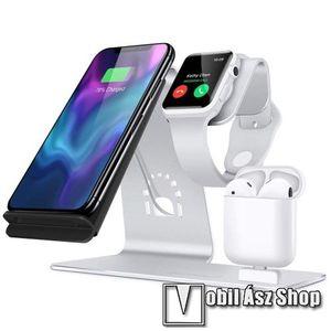 3 az 1-ben Apple Watch, Airpods és iPhone asztali tartó Qi Wireless asztali töltő funkcióval, 10W, gyors töltés - Apple Watch vezetéknélküli töltő NEM TARTOZÉK! - EZÜST kép
