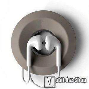 Fülhallgató / headset kábel szervező, kötegelő - szilikon, mágneses, kör alakú - VILÁGOSSZÜRKE kép