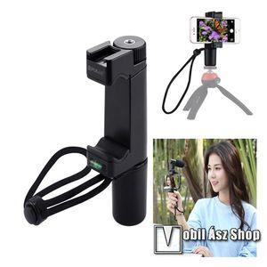 """PULUZ PU366 szelfibot adapter - univerzális, tripod állványra rögzíthető, Vlogging Live Broadcast, 57-100mm-ig állítható telefon bölcső, 6.4"""" méretig - FEKETE kép"""