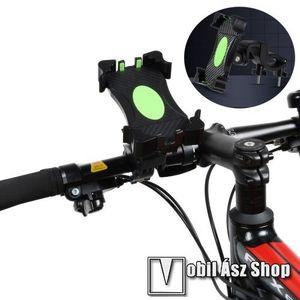 """UNIVERZÁLIS biciklis / kerékpáros tartó konzol mobiltelefon készülékekhez - FEKETE - 360°-ban forgatható, max 42mm átmérőjű kormányra rögzíthető, 3, 5-6, 5""""-os készülékekhez kép"""