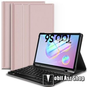 Notesz / mappa tok - ROSE GOLD - oldalra nyíló, mágneses záródás, asztali tartó funkció, kivehető bluetooth billentyűzet (ANGOL KIOSZTÁSÚ!) - SAMSUNG SM-T860 Galaxy Tab S6 (Wi-Fi) / SAMSUNG SM-T865 Galaxy Tab S6 (LTE) kép