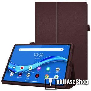 Notesz tok / mappa tok - asztali tartó funkciós, oldalra nyíló, ceruzatartó, műbőr belső - KÁVÉBARNA - Lenovo Tab M10 Plus (TB-X606F) kép