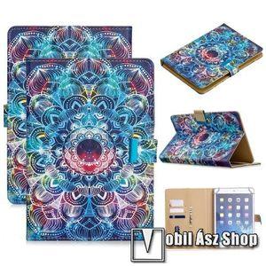 """UNIVERZÁLIS notesz / mappa tablet PC tok - VIRÁG MINTÁS - álló, bőr, mágneses, asztali tartó funkciós, belső zsebek, 10""""-os készülékekhez kép"""