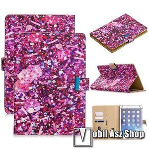 """UNIVERZÁLIS notesz / mappa tablet PC tok - FLITTER MINTÁS - álló, bőr, mágneses, asztali tartó funkciós, belső zsebek, 10""""-os készülékekhez kép"""