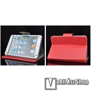 """UNIVERZÁLIS notesz / mappa tablet PC tok - PIROS - álló, bőr, mágneses záródás, asztali tartó funkciós, 10""""-os készülékekhez kép"""