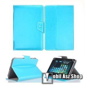 """UNIVERZÁLIS notesz / mappa tablet PC tok - VILÁGOSKÉK - álló, bőr, mágneses záródás, asztali tartó funkciós, 10""""-os készülékekhez kép"""