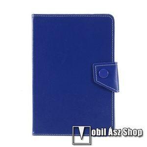 """UNIVERZÁLIS notesz / mappa tablet PC tok - SÖTÉTKÉK - álló, bőr, mágneses, asztali tartó funkciós, 8""""-os készülékekhez kép"""