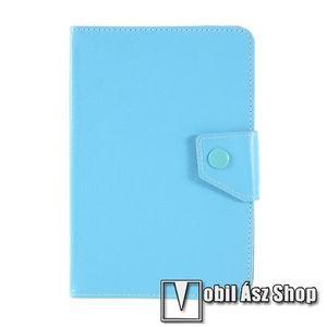 """UNIVERZÁLIS notesz / mappa tablet PC tok - VILÁGOSKÉK - álló, bőr, mágneses, asztali tartó funkciós, 8""""-os készülékekhez kép"""