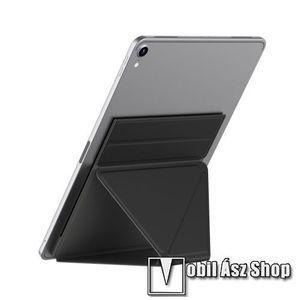 """UNIVERZÁLIS Tablet PC tartó / asztali állvány - FEKETE - ragasztós rögzítés, 4, 7 mm-es ultravékony kialakítás, háromszög alakú, összecsukható, 150x210x4.7mm - 9, 7""""-nál nagyobb táblagépekhez ajánlott kép"""