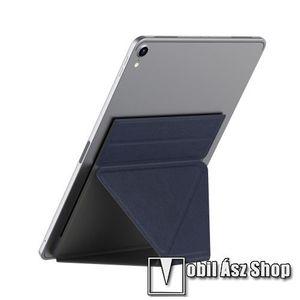 """UNIVERZÁLIS Tablet PC tartó / asztali állvány - SÖTÉTKÉK - ragasztós rögzítés, 4, 7 mm-es ultravékony kialakítás, háromszög alakú, összecsukható, 150x210x4.7mm - 9, 7""""-nál nagyobb táblagépekhez ajánlott kép"""