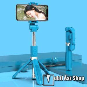 SELFIESHOW UNIVERZÁLIS teleszkópos selfie bot és tripod állvány - BLUETOOTH KIOLDÓVAL, 360 fokban forgatható, max 70cm hosszú nyél - KÉK kép