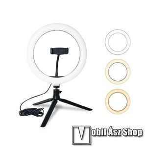 UNIVERZÁLIS telefon tartó tripod állvány - LED körfény, állítható színhőmérséklet 3200-5800K, 360°-ban forgatható, Lumen: 1350lm, állítható állvány 29cm magas - FEKETE kép