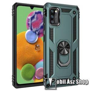 OTT! HYBRID ARMOR műanyag védő tok / hátlap - ZÖLD - szilikon betétes, kitámasztható, fém ujjgyűrűvel, tapadófelület mágneses autós tartóhoz - ERŐS VÉDELEM! - SAMSUNG Galaxy A41 (SM-A415F) kép
