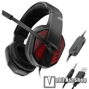 GAMING GEAR C971 headset / fejhallgató - 3, 5mm Jack és USB csatlakozás, 1.2m hosszú kábel, mikrofon, hangerő szabályzó, némító gomb, PC adapter, LED fény - FEKETE / PIROS - GYÁRI kép