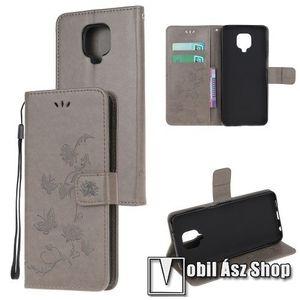 Notesz / mappa tok - VIRÁG / LEPKE MINTÁS - oldalra nyíló, rejtett mágneses záródás, bankkártyatartó zseb, asztali tartó funkció, szilikon belső - Xiaomi Redmi Note 9S / Note 9 Pro / 9 Pro Max kép