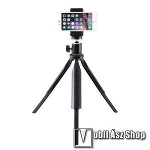 """UNIVERZÁLIS asztali tartó/ tripod fotó állvány - 360°-ban forgatható, 90°-os dőlésszög, állítható bölcső 55–80mm-ig, 22cm-30cm-ig állítható magasság, univerzális 1/4""""-es csatlakozó - FEKETE kép"""